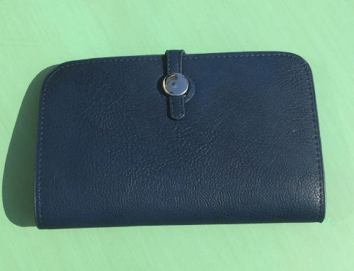 Faux Leather Dogon Style Wallet - Navy